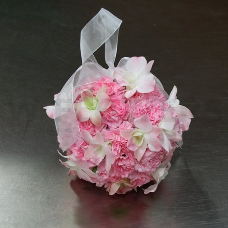 W Flowers product: Flower Girl Pomander with Pink Orchids