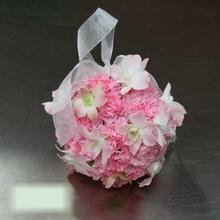 W Flowers product category: Flower Girl Pomander with Pink Orchids