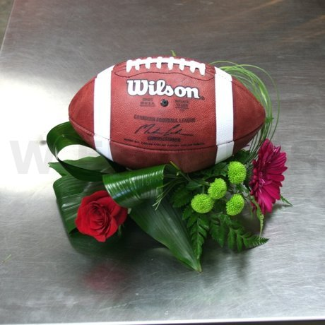 W Flowers product: Football Centerpiece in red and green