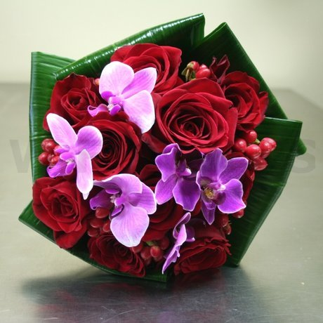 W Flowers product: Fuchsia and Red Bridal Bouquet
