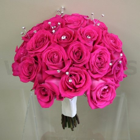 W Flowers Product Fuchsia Roses And Bling Bridal Bouquet