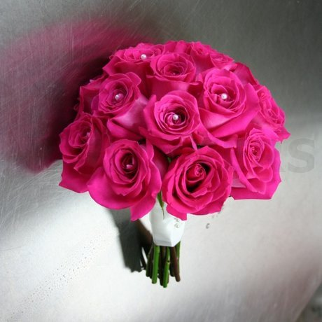 W Flowers product: Fuchsia Roses Wedding Bouquet