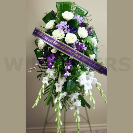 W Flowers product: Funeral Flowers Standing Spray in Purple