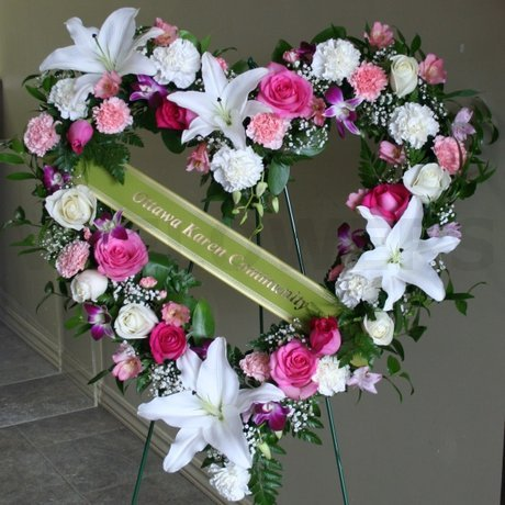 W Flowers product: funeral heart in white and pink