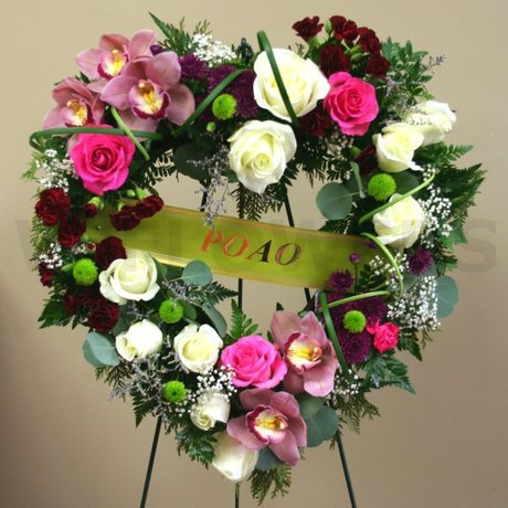 W Flowers product: Funeral Heart Multicolor