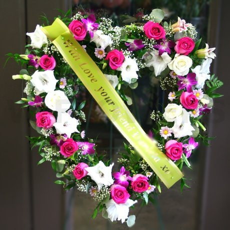 W Flowers product: Funeral Heart with Ribbon