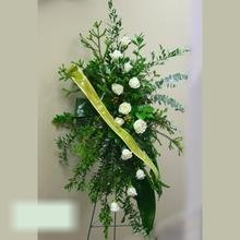 W Flowers product category: Funeral Spray with white roses and ribbon