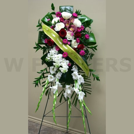 W Flowers product: Funeral standing spray in red and white