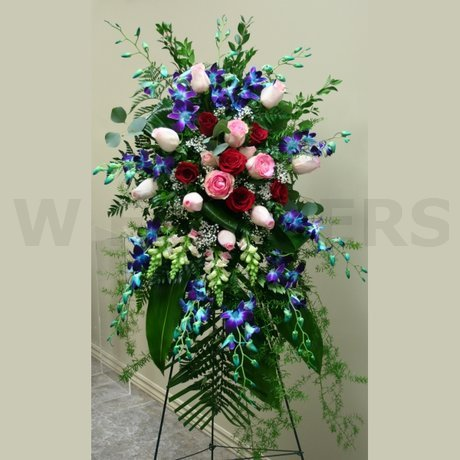 W Flowers product: Funeral Standing spray with blue