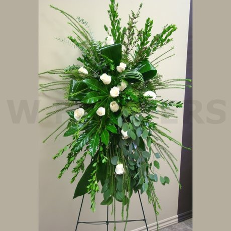 W Flowers product: Funeral standing spray with white roses