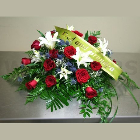 W Flowers product: Funeral Casket Spray with Red Roses