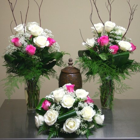 W Flowers product: Funeral Urn Arrangements with Roses