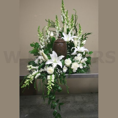 W Flowers product: Funeral Urn white flowers arrangement