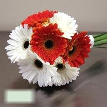 W Flowers product category: Gerbera Bridal Bouquet in white and orange