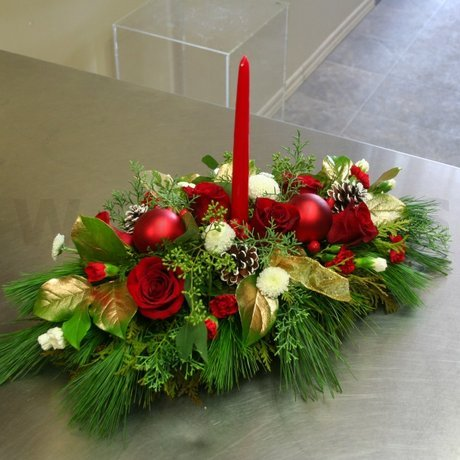 W Flowers product: Gold and Red Centerpiece