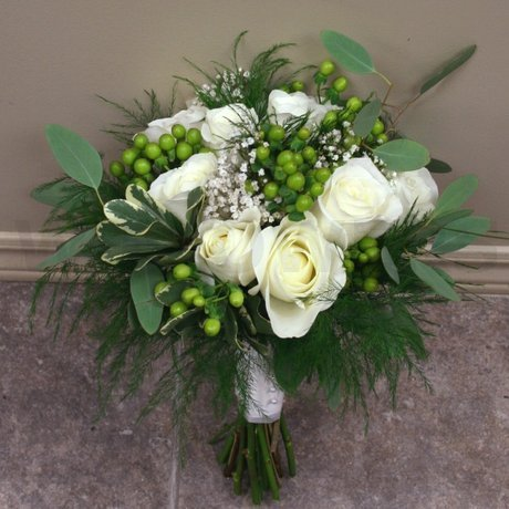 W Flowers product: Green and White Bridal Bouquet