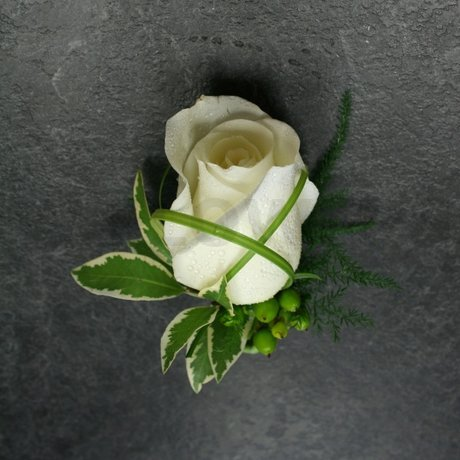 W Flowers product: Groom's Boutonniere with White Rose