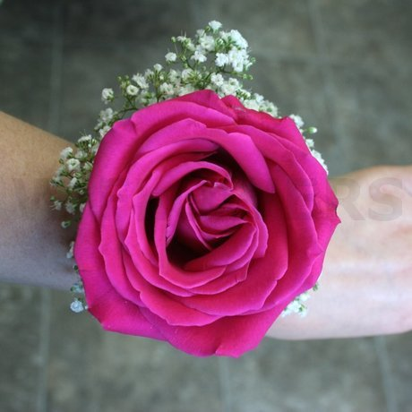 W Flowers product: Hot pink rose wrist corsage