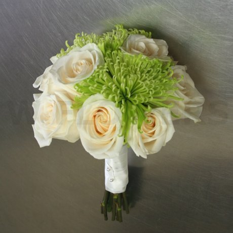 W Flowers product: Ivory and Lime Green Wedding Bouquet