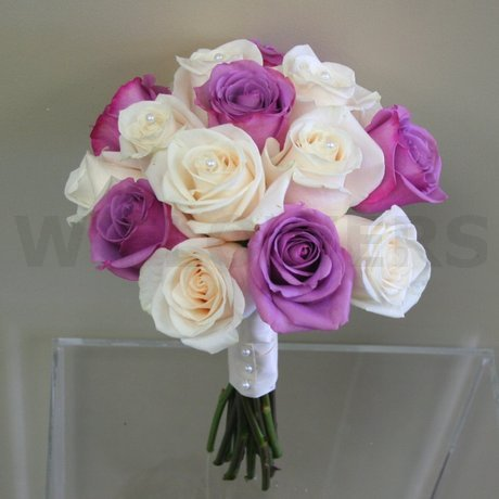 W Flowers product: Ivory and Purple Roses Bouquet