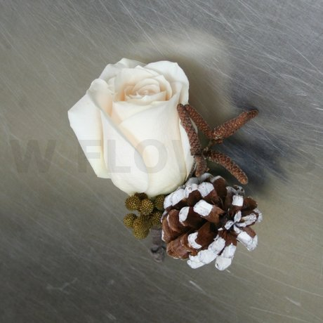 W Flowers product: Ivory Rose and Pine Cone Boutonniere