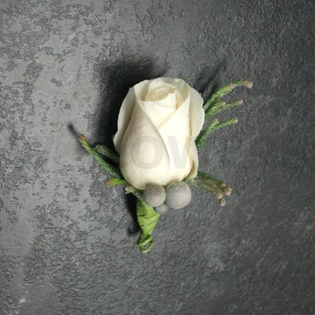 W Flowers product: Ivory Rose Boutonniere with grey accent