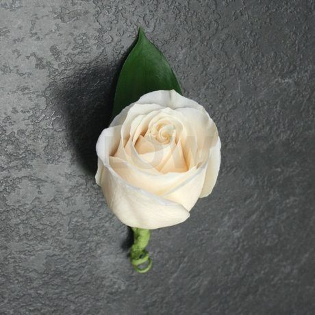 W Flowers product: Ivory Rose with leaf boutonniere