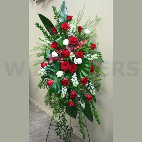 W Flowers product: Large Red and White Funeral Standing Spray