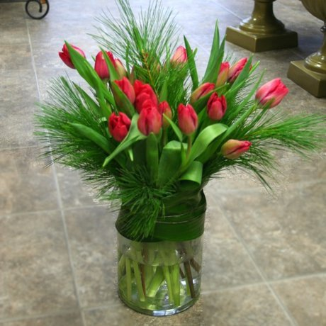 W Flowers product: Large Vase with Winter Tulips