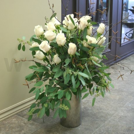 W Flowers product: Lavish White Roses in a Vase