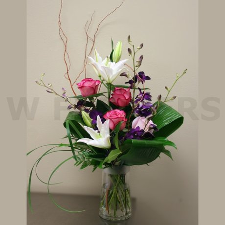 W Flowers product: Lilies and Roses in a Vase