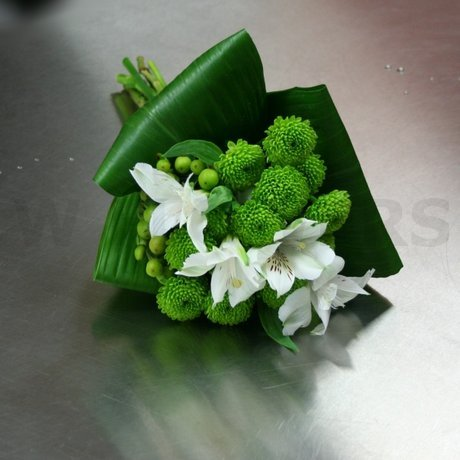 W Flowers product: Lime Green Mums Bridesmaid Bouquet