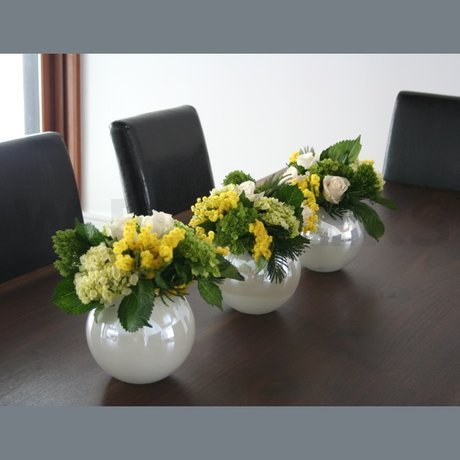 W Flowers product: Lime Green White and Yellow Centerpiece
