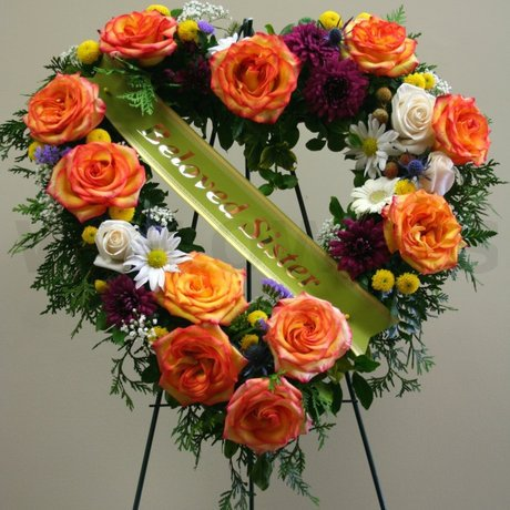 W Flowers product: Medium Multicolored Heart for Funeral