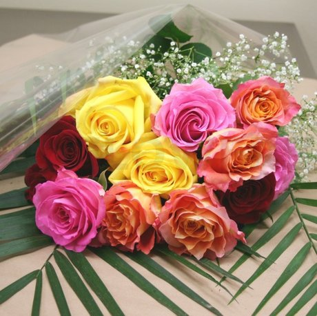 W Flowers product: Opulent Dozen Roses Multicolor