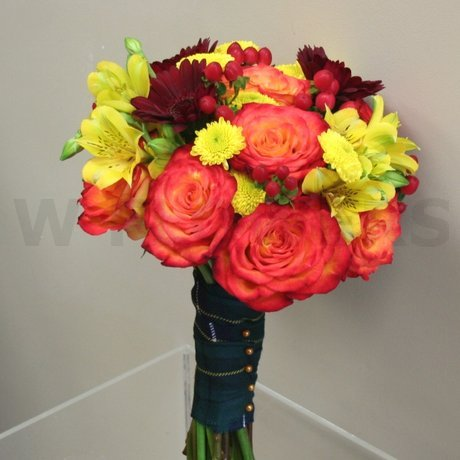 W Flowers product: Orange and Burgundy bridal bouquet