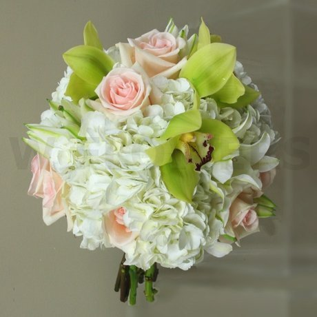 W Flowers product: Peach Roses and Green Orchids Bouquet