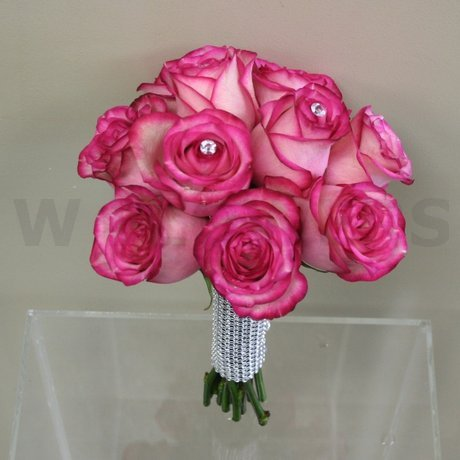 W Flowers product: Pink bridal bouquet with crystals