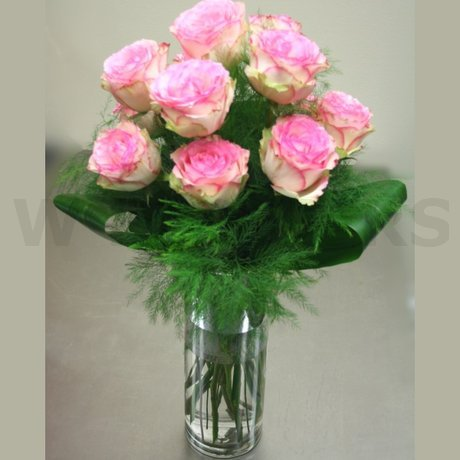 W Flowers product: Pink Dozen Roses in a Vase