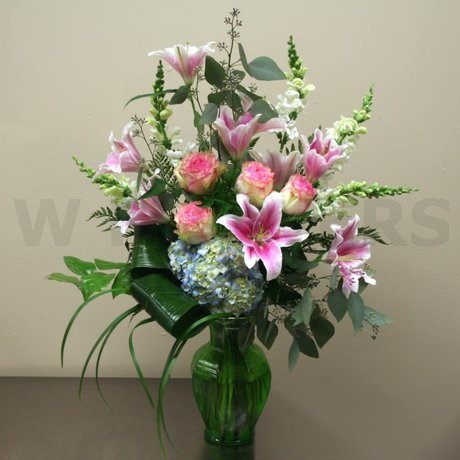 W Flowers product: Pink Lilies Vase Arrangement
