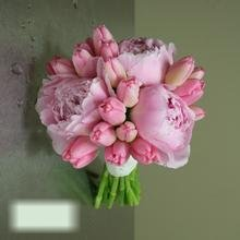 W Flowers product category: Pink Peony and Tulip Wedding Bouquet