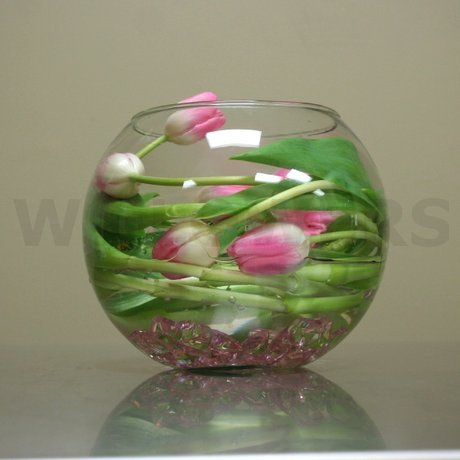 W Flowers product: Pink Tulips centerpiece