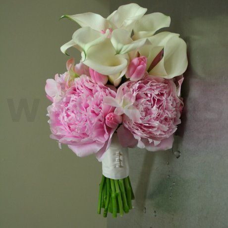 W Flowers product: Pink Tulips Peonies and Calla Wedding Bouquet