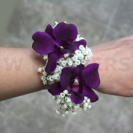 W Flowers product: Plum Orchids Wrist Corsage