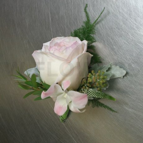 W Flowers product: Popular white garden rose corsage