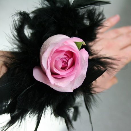 W Flowers product: Prom Corsage with Black Feathers