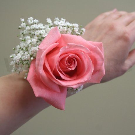 prom corsage with pink rose  w flowers ottawa, Natural flower