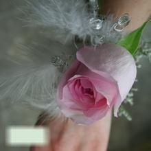 W Flowers product category: Prom Corsage with White Feathers