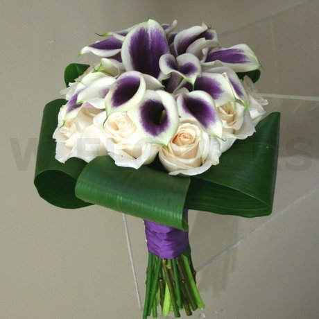 W Flowers product: Purple and Off White Wedding Bouquet