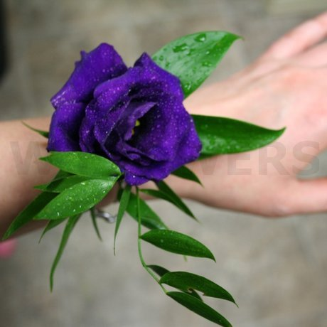 W Flowers product: Purple Fresh Flower Wrist Corsage